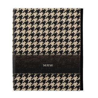 Classic Black and Tan Houndstooth Custom Monogram iPad Folio Case