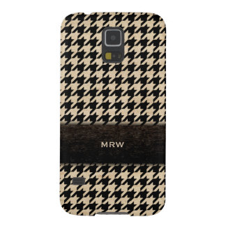 Classic Black and Tan Houndstooth Custom Monogram Case For Galaxy S5