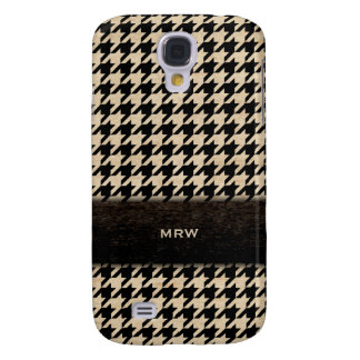 Classic Black and Tan Houndstooth Custom Monogram Galaxy S4 Cover