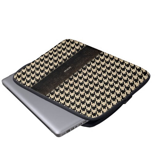 Classic Black and Tan Houndstooth Custom Monogram Laptop Computer Sleeve