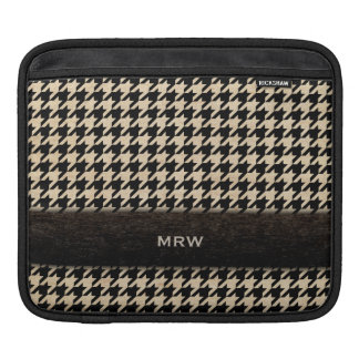 Classic Black and Tan Houndstooth Custom Monogram Sleeve For iPads