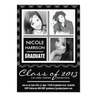 Classic Black and White  3 Photo Grad Party Card