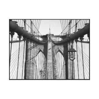 Classic black and white Brooklyn Bridge Canvas Print