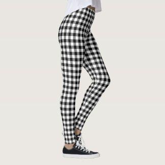 Classic Black and White Buffalo Check Pattern Leggings