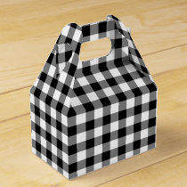 Classic Black And White Checked Gingham Favor Box