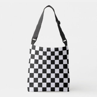 Classic Black and White Checkered Cross Body Bag