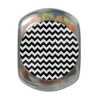Classic Black and White Chevron Glass Jar