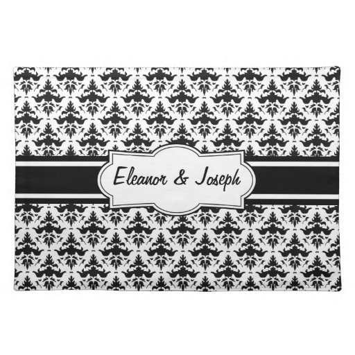 classic black and white damask wedding custom placemat zazzle. Black Bedroom Furniture Sets. Home Design Ideas