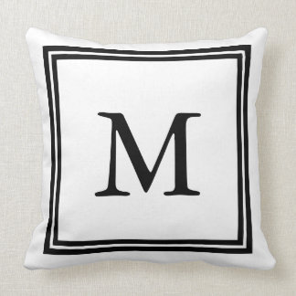 Classic Black and White Double Frame Monogram Pillows