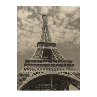 Eiffel tower wood wall art zazzle for Eiffel tower wall mural black and white