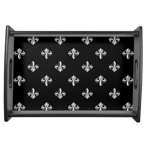 Classic black and white fleur de lis pattern serving tray zazzle - Fleur de lis serving tray ...