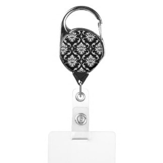 Classic Black and White Floral Damask Pattern Badge Holder