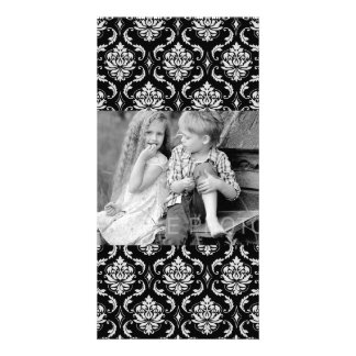 Classic Black and White Floral Damask Pattern Card