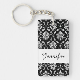 Classic Black and White Floral Damask Pattern Double-Sided Rectangular Acrylic Keychain