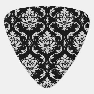 Classic Black and White Floral Damask Pattern Guitar Pick