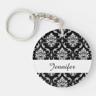 Classic Black and White Floral Damask Pattern Double-Sided Round Acrylic Keychain