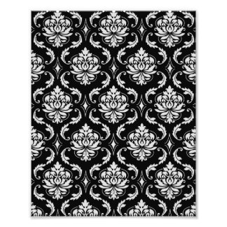 Classic Black and White Floral Damask Pattern Photo Print