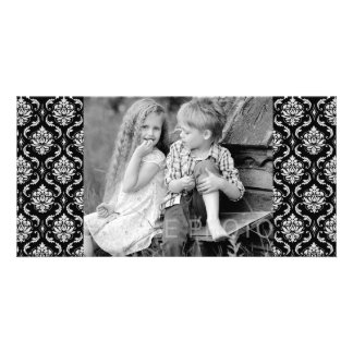 Classic Black and White Floral Damask Pattern Photo Card