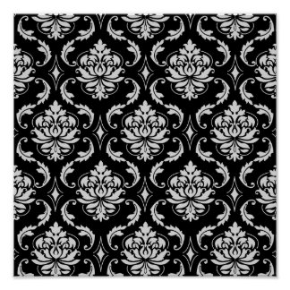 Classic Black and White Floral Damask Pattern Poster