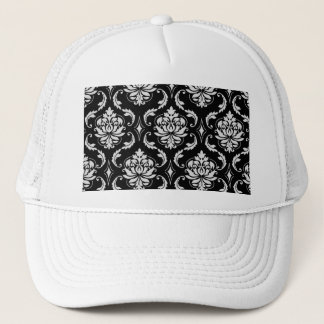 Classic Black and White Floral Damask Pattern Trucker Hat