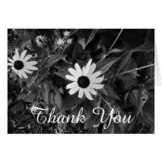 Classic Black and White Flower Thank You Card