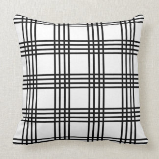 Classic Black and White Four Stripe Plaid Pillow