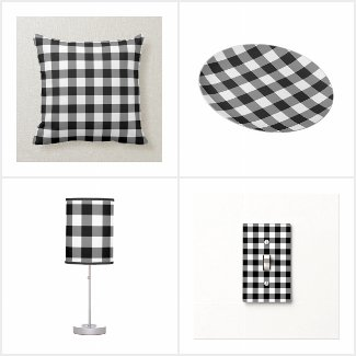 Classic Black and White Gingham Pattern Home Decor