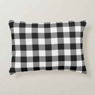Classic Black and White Gingham Pattern Pillow