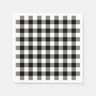 Classic Black and White Gingham Plaid Pattern Napkin