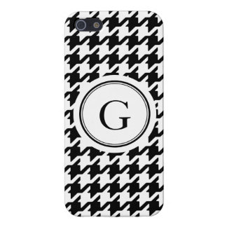 Classic black and white houndstooth monogram iPhone 5/5S cover