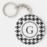 Classic black and white houndstooth monogram keychain