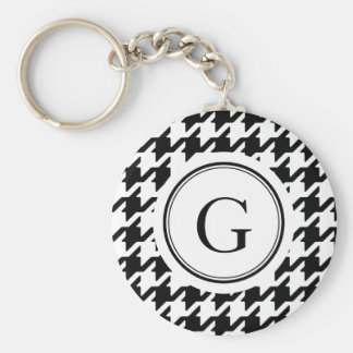 Classic black and white houndstooth monogram keychain