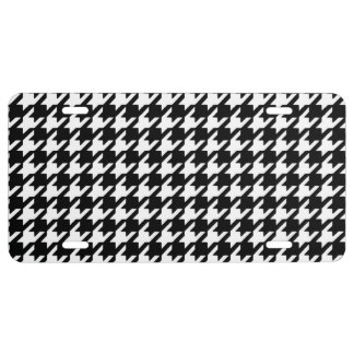 Classic Black and White Houndstooth Pattern License Plate
