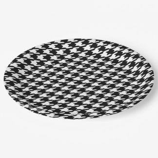 Classic Black and White Houndstooth Pattern Paper Plate