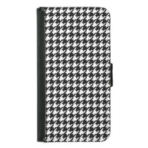 Classic Black and White Houndstooth Pattern Wallet Phone Case For Samsung Galaxy S5