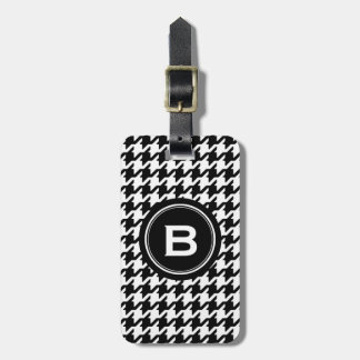 Classic black and white houndstooth with monogram bag tag