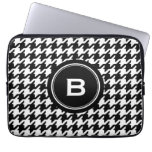 Classic black and white houndstooth with monogram laptop sleeves