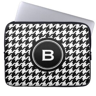 Classic black and white houndstooth with monogram laptop sleeve