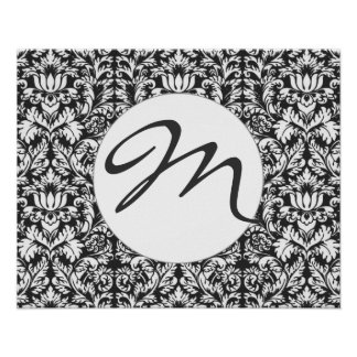 Classic Black and White Lace Pattern Poster