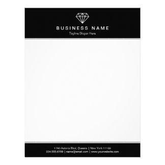 Classic Black and White Modern Diamond Logo Letterhead