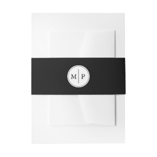 Classic Black and White Monogram Wedding Invitation Belly Band