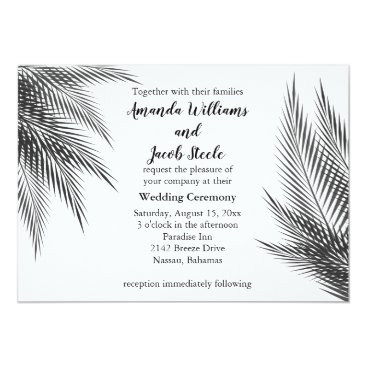 Beach Themed Classic Black and White Palm Leaves Wedding Invite