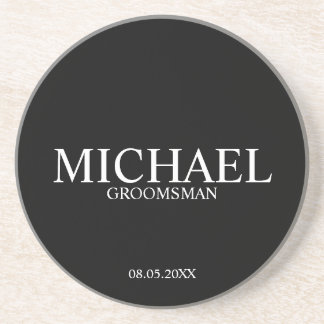 Classic Black and White Personalized Groomsmen Coaster