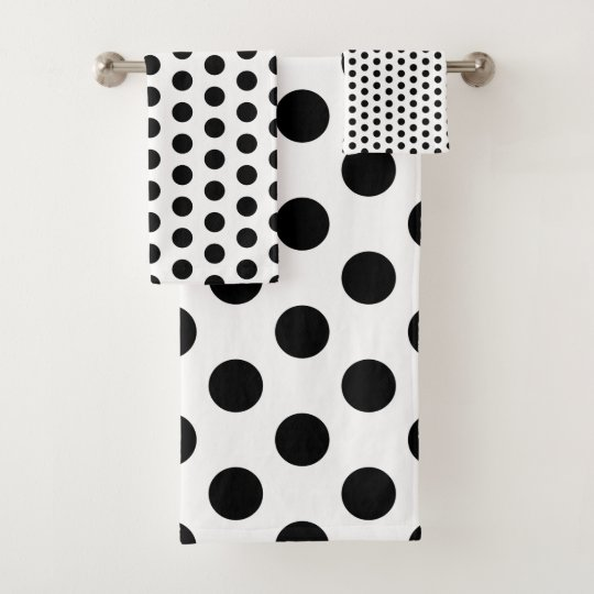 Bath Towel Sets Black And White: Classic Black And White Polka Dot Bath Towel Set