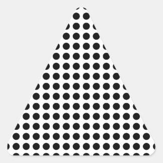 Classic Black and White   Polka Dots Pattern Triangle Sticker