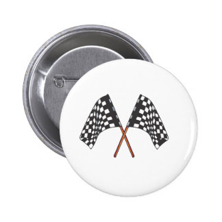 Classic black and white Racing Flag Pinback Button