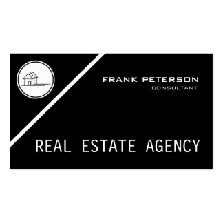classic black and white real estate agency business card