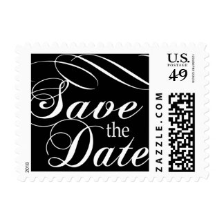 Classic Black and White Save the Date Postage Stamp