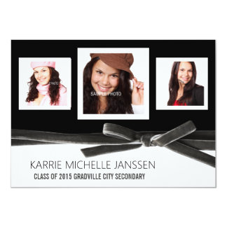 Classic Black and White Square Photos Graduation Card