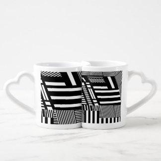 Classic Black and White Stripe Coffee Mug Set